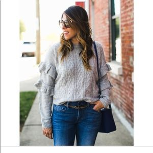 Wayf Sophie Cable Knit Ruffle Sleeve Sweater Small
